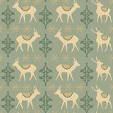 Vintage christmas seamless pattern with deers. Snowflakes and ornaments,  illustration background Stock Images