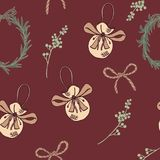 Vintage christmas seamless pattern with red background royalty free stock image