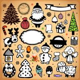 Vintage Christmas set of design elements Royalty Free Stock Photography
