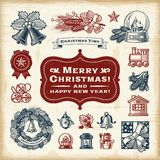 Vintage Christmas Set Stock Photos