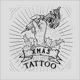 Vintage Christmas Skull tattoo Stock Photography