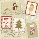 Vintage Christmas stamps collection Stock Photography