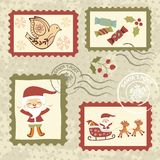Vintage Christmas stamps collection Stock Image