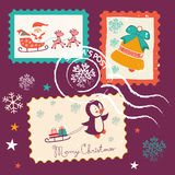 Vintage Christmas stamps collection Stock Images