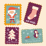 Vintage Christmas stamps collection Royalty Free Stock Image