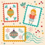 Vintage Christmas stamps collection Royalty Free Stock Photography