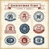 Vintage Christmas Stamps Set Stock Photo