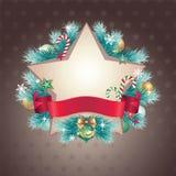 Vintage Christmas star shape banner. Vintage Christmas festive ornate banner Royalty Free Stock Photo