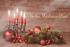 Vintage Christmas still life with candles and decorations, text Stock Photos