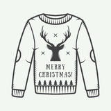 Vintage Christmas sweater with deer, trees and stars. Vector illustration Stock Image