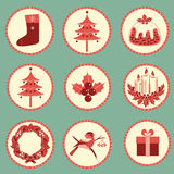 Vintage Christmas symbols isolated for design Stock Image