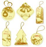 Vintage Christmas tags Stock Photo