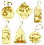 Vintage Christmas tags Stock Photo