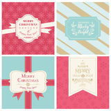 Vintage Christmas Tags or Cards Merry Christmas Stock Photo