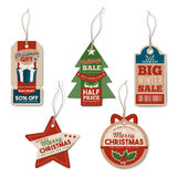 Vintage Christmas tags with string Royalty Free Stock Photos