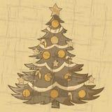 Vintage Christmas tree vector illustration