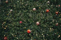 Vintage Christmas tree with ball decoration and sparkle light filter royalty free stock images