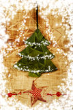 Vintage christmas tree card with snowflakes Stock Photography