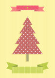 Vintage Christmas tree. Colored illustration. EPS 10.0. RGB. Illustration can be used as template for events greeting cards or for holiday menus in food Royalty Free Stock Photos