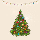 Vintage christmas tree Stock Photo