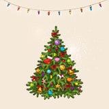 Vintage christmas tree Stock Photo