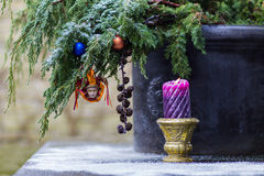 Vintage Christmas-tree decoration and candlestick Royalty Free Stock Photo