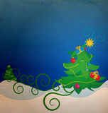 Vintage christmas tree with gift boxes Stock Images