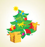 Vintage christmas tree with gift boxes Royalty Free Stock Images