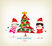 Vintage christmas tree and kids funny. Merry christmas background and greeting card design Stock Images