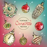 Vintage Christmas tree toys vector watercolor royalty free illustration
