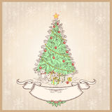 Vintage Christmas tree.Vector illustration with ol Stock Photos