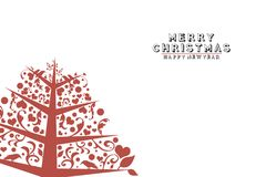 Vintage Christmas Tree on white background Royalty Free Stock Images