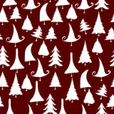 vintage christmas trees icons seamless pattern Stock Photography