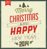 Vintage Christmas Typographic Background - Retro Design Stock Photography