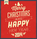 Vintage Christmas Typographic Background - Retro Design Stock Photo