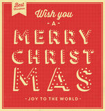 Vintage Christmas Typographic Background. / Retro Design / Wish You A Merry Christmas / Joy To The World Stock Photos