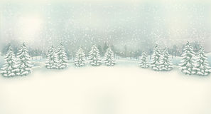 Vintage Christmas winter landscape background.
