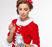 Vintage christmas woman Royalty Free Stock Photography
