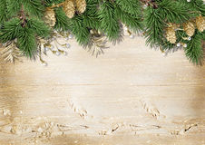 Vintage Christmas wood background with decorations Stock Photography