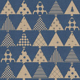 Vintage christmas wrapping paper. Seamless Christmas background with trees Royalty Free Stock Photos