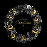 Vintage Christmas wreath deer decoration in gold Royalty Free Stock Photo