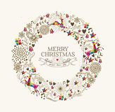 Vintage Christmas wreath greeting card. Vintage Christmas wreath garland shape with colorful reindeer and retro label greeting card. EPS10 vector file organized Royalty Free Stock Images