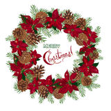Vintage Christmas wreath with pine cones and poinsettia isolated on white background. Vector illustration Royalty Free Stock Photo