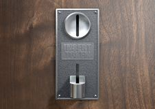 Vintage Chrome Coin Receptacle. A vintage metal coin receptacle slot panel from a coin operated machine with entry and exit slots mounted on a wooden surface vector illustration