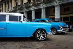 Vintage Chrysler next to old buildings in Havana Stock Photo