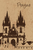 Vintage Church of Our Lady before Tyn in Prague Stock Photography