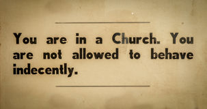 Vintage Church Rules Sign Stock Photos