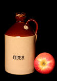 Vintage cider bottle and apple Royalty Free Stock Images