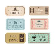 Vintage cinema  circus and party tickets set. Vintage cinema  circus and party tickets vector set showing perforated entry tickets with icons depicting free Stock Photos