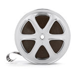 Vintage cinema film tape on disc. 3d rendered illustration.  on white background Royalty Free Stock Photo